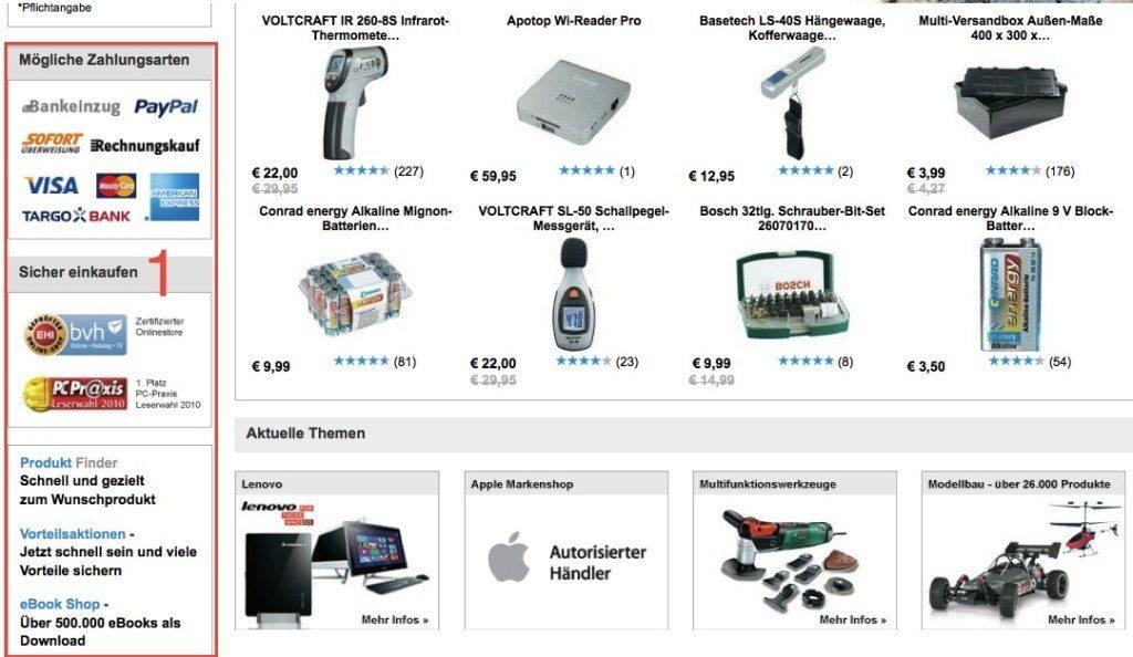E-Commerce-Design, gelungen: 1) Informationsleiste enthält wichtige Punkte: Kundenmeinungen, Bezahlung und Gütesiegel. (Screenshot: Conrad)