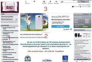 E-Commerce-Design, nicht gelungen: 1) Navigation nur teilweise erkennbar. 2) Inhaltliche Ausrichtung kaum erkennbar. 3) Informationen über den Anbieter nicht erkennbar. (Screenshot: Big-Design.eu)