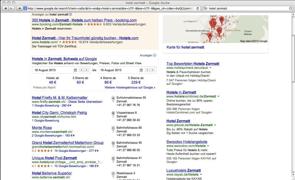 """Google-Ergebnisse zur Suche """"Hotel Zermatt"""" (Screenshot: Google)"""
