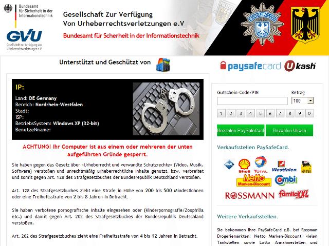 GVU-/BSI-Trojaner (Quelle: bka-trojaner.de). Zum Vergrössern Klicken.