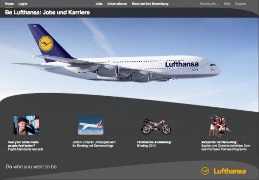 Das Online-Bewerbungsportal von Lufthansa (Screenshot: Lufthansa)