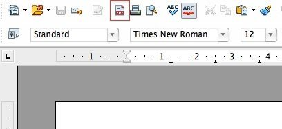 Mit einem Klick kann man in Open Office Dokumente in PDFs umwandeln. (Screenshot: Open Office Writer)
