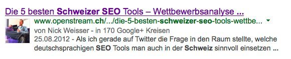 Auch mit einem Bild, z.B. vom Autor eines Beitrags, kann man in den Suchergebnissen punkten. (Screenshot: Google)