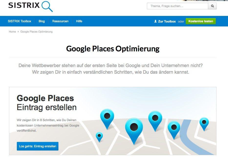 Local SEO funktioniert mit lokalen Inhalten. (Screenshot: Sistrix)