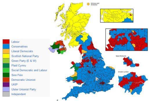 Ergebnis der Unterhauswahl in Grossbritanien vom 7. Mai 2015. (Bild: Italay90, Wikimedia, CC)