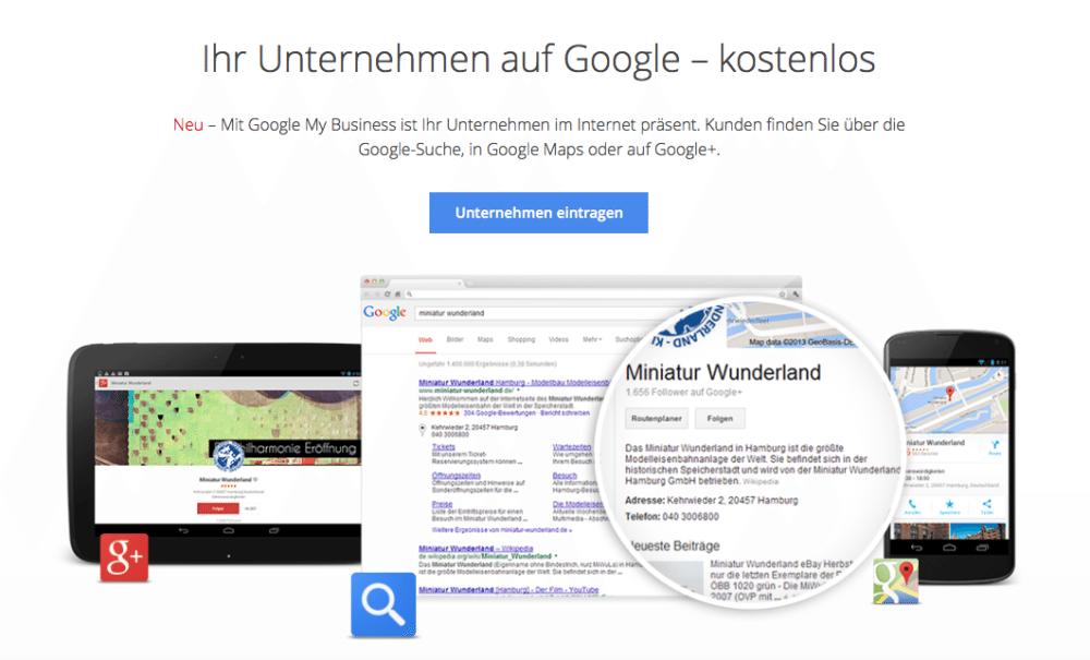 Um in den lokalen Suchergebnissen gelistet zu werden, benötigen Sie einen Google My Business Account.
