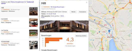 """Hier sind lokale Suchergebnisse für """"Restaurant Zürich"""" zu sehen."""