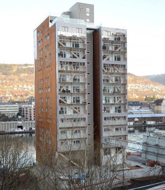"""Gebaut: Haus """"Treet"""" im norwegischen Bergen mit 14 Geschossen in Holz (Bild: BOB BBL)"""