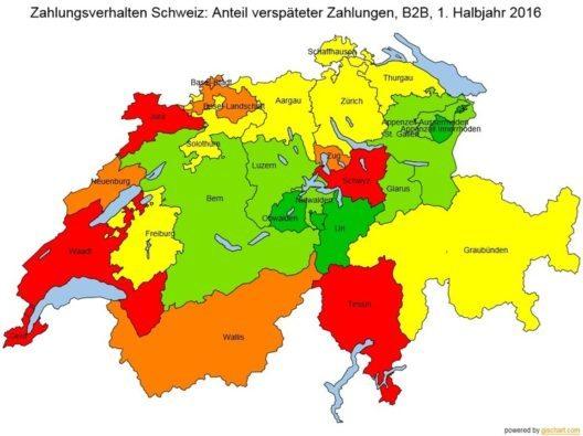 Zahlungsmoral – deutliche Unterschiede in der Schweiz (Bild: © Bisnode)