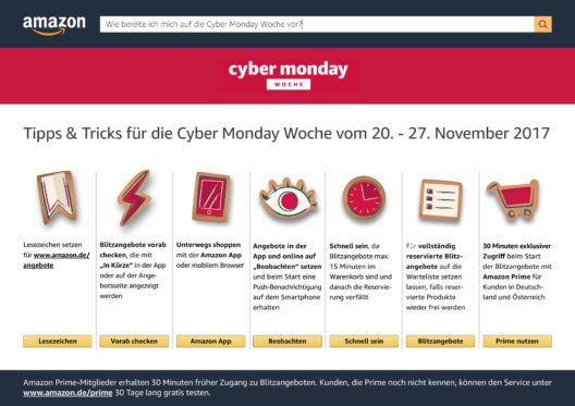 """Tipps & Tricks für entspanntes Shoppen in der """"Cyber Monday""""-Woche (Grafik: obs/Amazon.de)"""