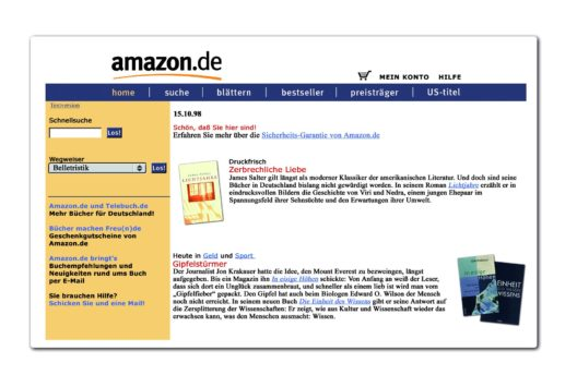 Amazon vor 20 Jahren (Bild: obs/Amazon.de)